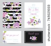 wedding invitation template set.... | Shutterstock .eps vector #765025033