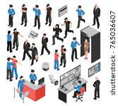 security system isometric icons ... | Shutterstock .eps vector #765036607