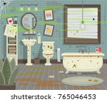 dirty bathroom with toilet sink ...   Shutterstock .eps vector #765046453
