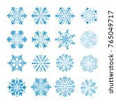 16 blue snowflakes | Shutterstock .eps vector #765049717