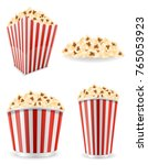 popcorn in striped cardboard... | Shutterstock . vector #765053923