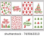 set of christmas greeting cards.... | Shutterstock .eps vector #765063313