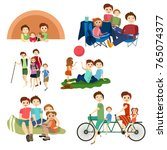 flat icons set of family... | Shutterstock . vector #765074377