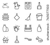 thin line icon set   eco car ... | Shutterstock .eps vector #765077503