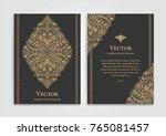 golden vintage greeting card on ... | Shutterstock .eps vector #765081457