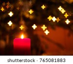 christmas time theme   flaming... | Shutterstock . vector #765081883