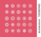 white snowflakes icon on red... | Shutterstock .eps vector #765085483