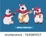 set of cute of christmas polar... | Shutterstock .eps vector #765085927