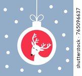 christmas white raindeer.... | Shutterstock .eps vector #765096637