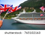 large cruise liner departs... | Shutterstock . vector #765102163