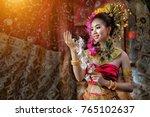 thai woman classical dancer on... | Shutterstock . vector #765102637