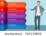businessman pointing and shows... | Shutterstock .eps vector #765115843