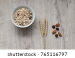 muesli with nuts hazelnuts ... | Shutterstock . vector #765116797