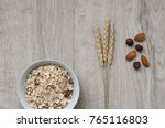muesli with nuts hazelnuts ... | Shutterstock . vector #765116803