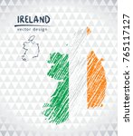 ireland vector map with flag... | Shutterstock .eps vector #765117127