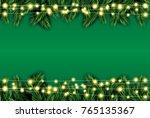 fir branch with neon lights on... | Shutterstock .eps vector #765135367