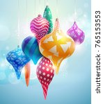 christmas tree decorations. new ... | Shutterstock .eps vector #765153553