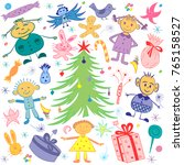 happy kids around fir tree with ... | Shutterstock .eps vector #765158527