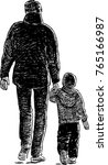 father and his little son on a... | Shutterstock .eps vector #765166987