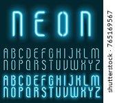 neon blue light alphabet vector ... | Shutterstock .eps vector #765169567