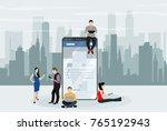 social network web site surfing ... | Shutterstock .eps vector #765192943