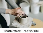 young female maker ceramics... | Shutterstock . vector #765220183