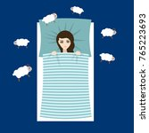 woman with sleep problems and... | Shutterstock .eps vector #765223693