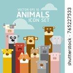 animal face icon set | Shutterstock .eps vector #765227533