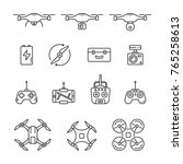 flying drone icons  thin vector ... | Shutterstock .eps vector #765258613