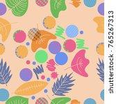autumn theme  leaves  scribbles ... | Shutterstock .eps vector #765267313
