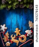 christmas background with... | Shutterstock . vector #765278143