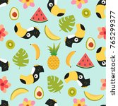 pattern with cute toucan and... | Shutterstock .eps vector #765299377