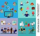 set of business people working... | Shutterstock .eps vector #765302317