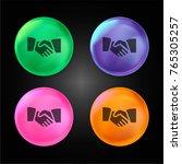 hand shake crystal ball design... | Shutterstock .eps vector #765305257