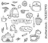 hand drawn doodle tea time icon ... | Shutterstock .eps vector #765307993