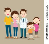 cute family visiting the doctor....   Shutterstock .eps vector #765316627