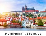 prague is the capital of the... | Shutterstock . vector #765348733