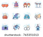 wedding icons in flat colors... | Shutterstock .eps vector #765351013