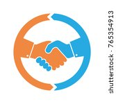 abstract colored handshake icon.... | Shutterstock .eps vector #765354913