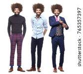 full body afro man | Shutterstock . vector #765357397