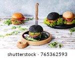 set of homemade burgers in... | Shutterstock . vector #765362593