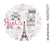 paris. vector sketch... | Shutterstock .eps vector #765370177