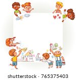 Different children draw on large poster. Happy children holding blank poster. Template for advertising brochure. Ready for your message. Space for text. Funny cartoon character. Vector illustration | Shutterstock vector #765375403