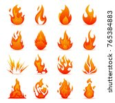 Vector Set Of Fire And Flame...