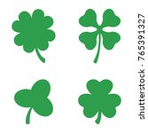 set of three and four leaf... | Shutterstock .eps vector #765391327