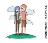 couple in watercolor silhouette ... | Shutterstock .eps vector #765391537