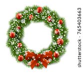christmas wreath decorated red... | Shutterstock .eps vector #765403663
