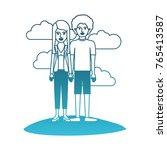 couple in degraded blue... | Shutterstock .eps vector #765413587