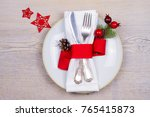 christmas table setting with... | Shutterstock . vector #765415873