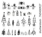 set of hand drawn christmas...   Shutterstock .eps vector #765430927